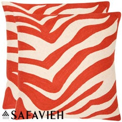 Safavieh Stripes 18-inch Embroidered Orange Decorative Pillows (Set of 2)