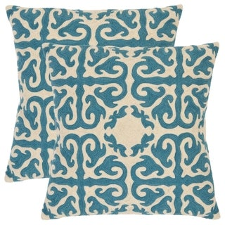 Safavieh Morrocan 22-inch Embroidered Blue Decorative Pillows (Set of 2)