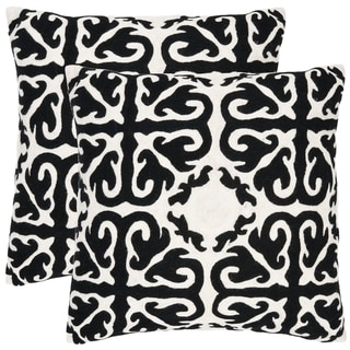 Safavieh Morrocan 22-inch Embroidered Black Decorative Pillows (Set of 2)