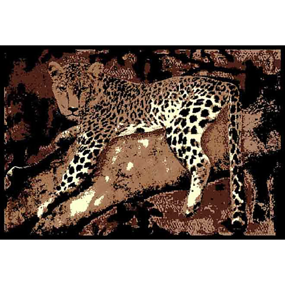 African Adventure Leopard on Tree 3 Brown Area Rug (5' x 7')