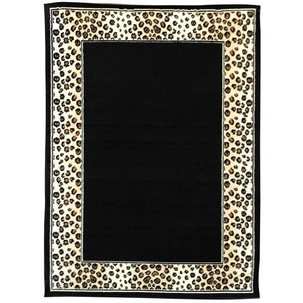 Shop African Adventure Leopard Border Area Rug (5'x7')