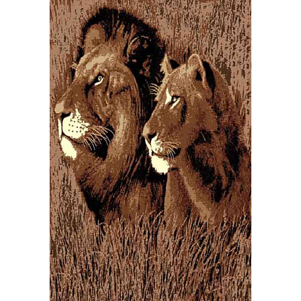 DonniAnn African Adventure Lion & Lioness Black Area Rug (5'x7') - 5' x 7'