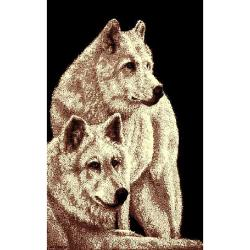 African Adventure Two Wolves Area Rug (5'x7') - 5' x 7' - Thumbnail 0
