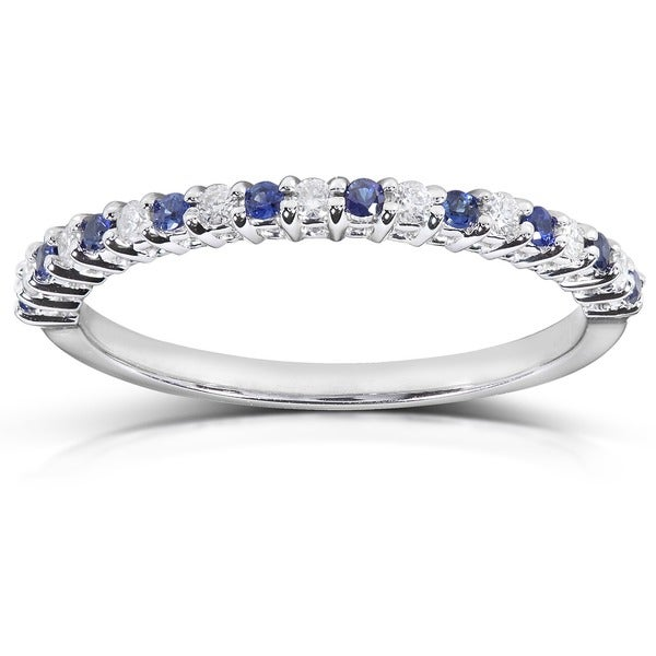 Annello by Kobelli 14k White Gold 1/10ct TDW Blue Sapphire and Diamond Band (H-I, I1-I2)