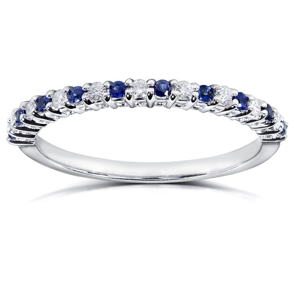 Annello 14k White Gold 1/10ct TDW Blue Sapphire and Diamond Band (H-I, I1-I2)