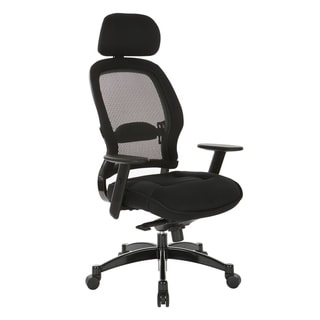 Professional Deluxe Black Breathable Mesh Office Chair with Adjustable Headrest and Mesh Seat.