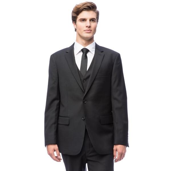 Men's Black Vested Wool Suit