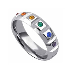 Stainless Steel Multi-colored Faux Stone Gay Pride Ring