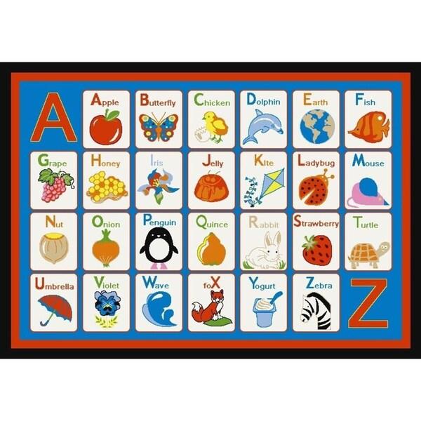 Ottomanson ABC to Z Blue Kid's Rug (4'5 x 6'1)