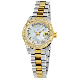 Akribos XXIV Women's Diamond Quartz Two-Tone Bracelet Watch with Jewelry Clasp