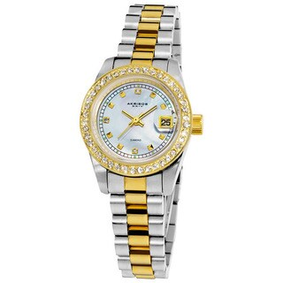 Akribos XXIV Women's Diamond Quartz Two-Tone Bracelet Watch with Jewelry Clasp