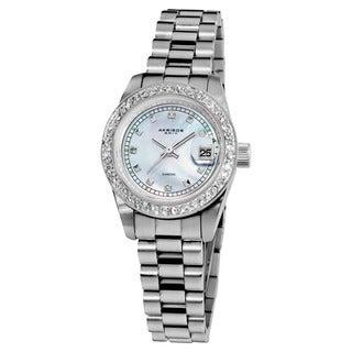Akribos XXIV Women's Diamond Quartz Water-Resistant Silver-Tone Bracelet Watch