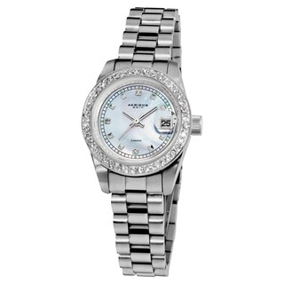 Akribos XXIV Women's Diamond Quartz Water-Resistant Silver-Tone Bracelet Watch