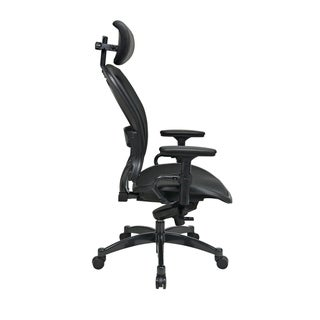 Office Star Professional Breathable Mesh Black Chair with Leather Trim and Adjustable Headrest