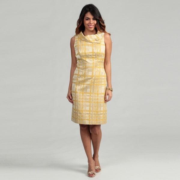 Tahari ASL Women's Envelope Collar Jacquard Sheath Dress