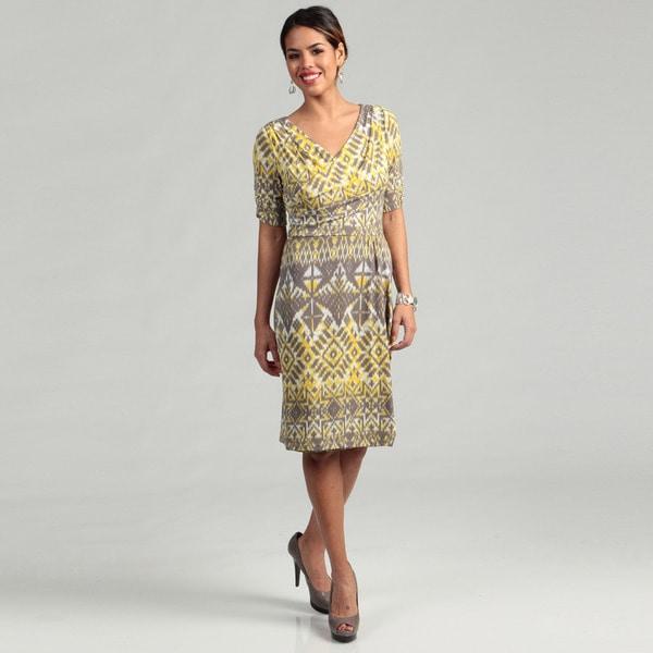 Tahari Women's Yellow/ Grey Abstract Drape Dress