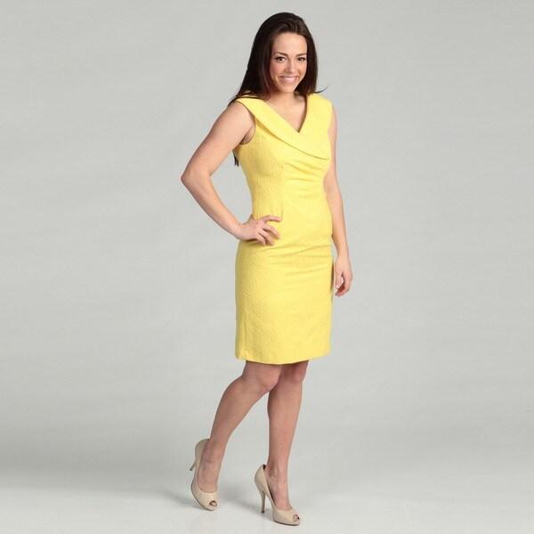 Tahari Women's Yellow Jacquard Sheath Dress