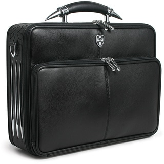 Zeyner Leather Bullhorn Top-Zip 17-inch Laptop Briefcase