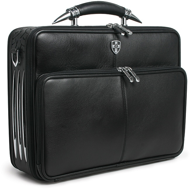 Zeyner Leather Bullhorn Top Zip 17 Inch Laptop Briefcase