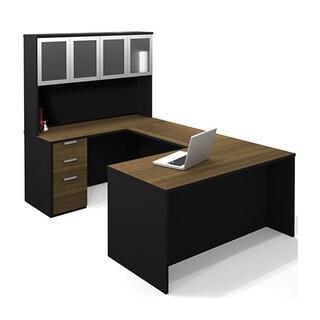 Bestar Pro-Concept U-Shaped Workstation Desk with High Hutch