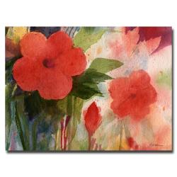Sheila Golden 'Red Blossoms' Large Canvas Art