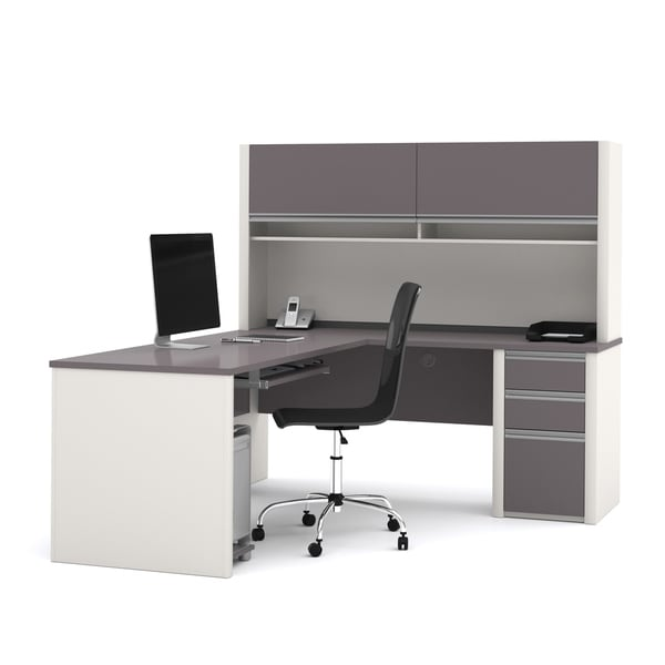 Bestar Connexion Brown Laminate L-shaped Workstation Desk with Hutch