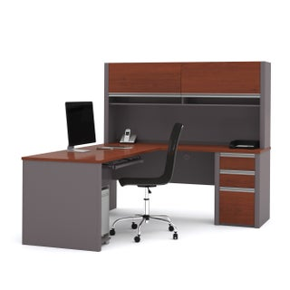 Bestar Connexion L-shaped Workstation Desk with Hutch (Option: bordeaux & slate)