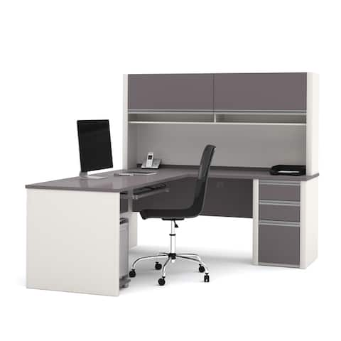 Bestar Connexion L-shaped Workstation Desk with Hutch
