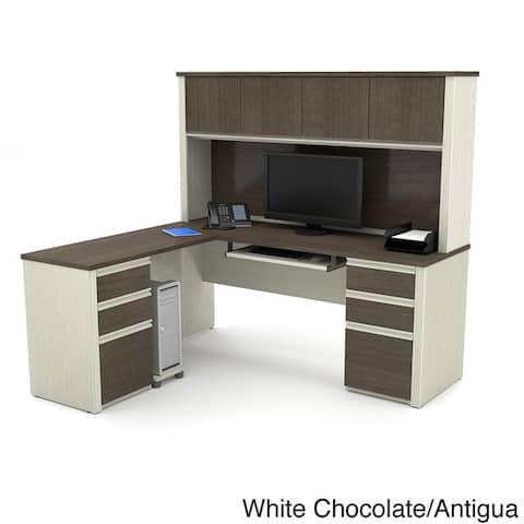 Bestar Prestige Plus L-shaped Desk with Hutch