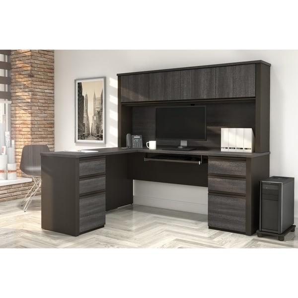 Bestar Prestige Plus L-shaped Desk with Hutch. Opens flyout.
