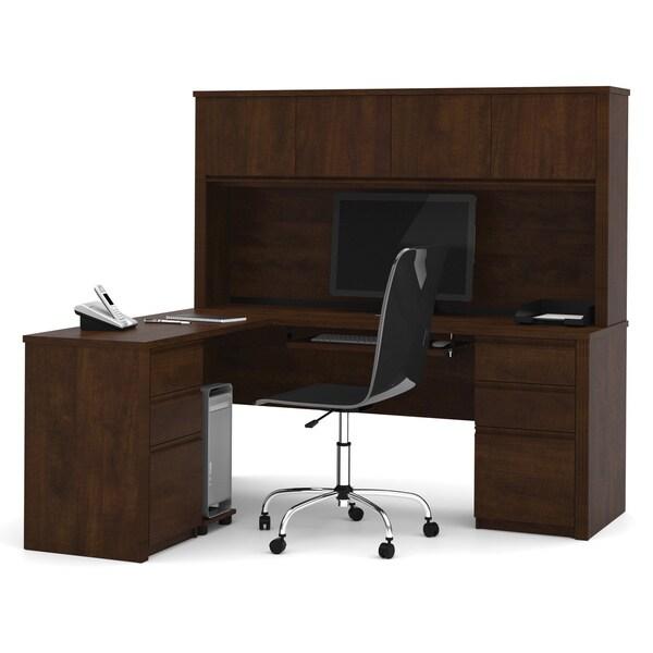 Bestar Prestige Plus L-shaped Workstation Desk with Hutch and Dual Full Pedestals