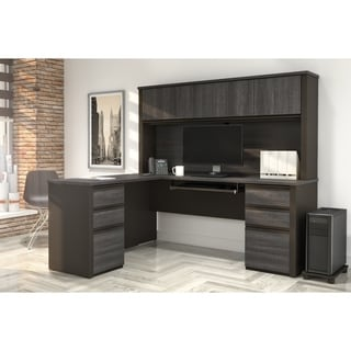 Bestar Prestige Plus L-shaped Workstation Desk with Hutch and Dual Full Pedestals