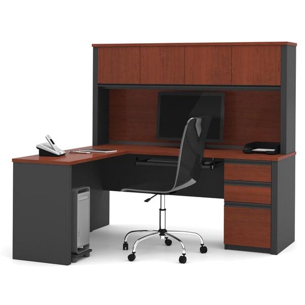 Bestar Prestige Plus L-shaped Workstation Desk with Hutch