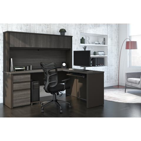 Bestar Prestige Plus L-shaped Workstation Desk with Hutch