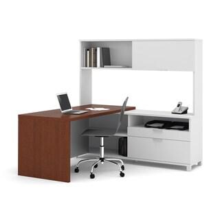 Bestar Pro-Linea L-shaped Desk with Hutch