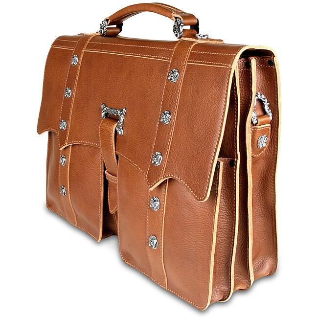 Zeyner Cognac Italian-vachetta-leather 15.4-inch Laptop Briefcase