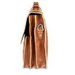 Zeyner Cognac Italian-vachetta-leather 15.4-inch Laptop Briefcase - Thumbnail 1