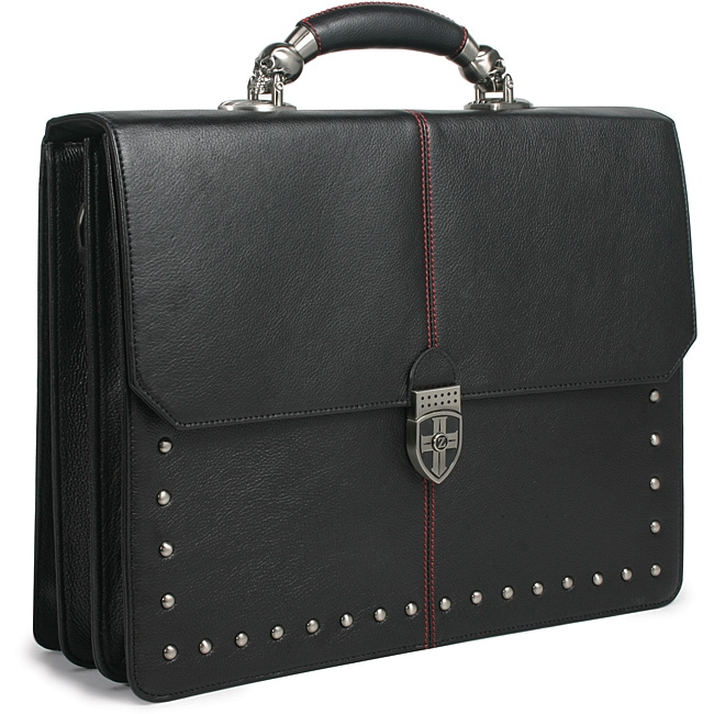 Zeyner Hellraiser Leather Flapover 17-inch Laptop Briefca...