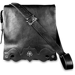 Zeyner Black Italian Vachetta Leather Messenger Bag