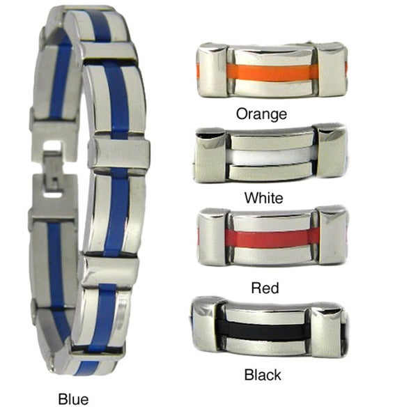 Obsessed Jewelry Stainless Steel Polished Blue Center Bracelet