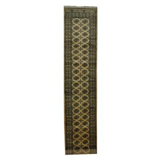 Handmade Pakistani Beige/ Black Bokhara Wool Runner (2'6 x 15'9) (Pakistan)