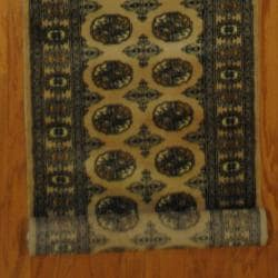 Pakistani Hand-knotted Beige/ Black Bokhara Wool Runner (2'7 x 16'7)