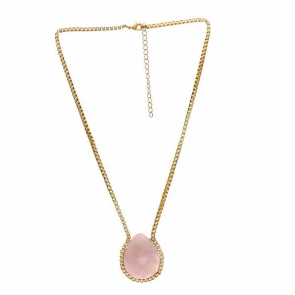 Nexte Jewelry Goldtone Faceted Teardrop Rose Quartz Necklace