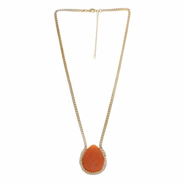 Nexte Jewelry Goldtone Faceted Teardrop Coral Necklace