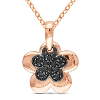 Miadora Pink Rhodium Plating Over Silver 1/10ct TDW Black Diamond Flower Necklace