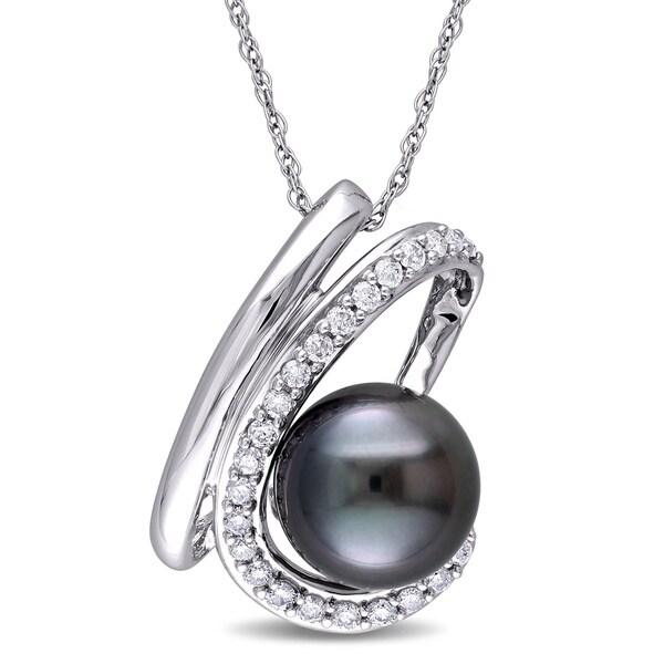 Miadora 10k White Gold 1/4ct TDW Black Tahitian Pearl Necklace (H-I, I2-I3)
