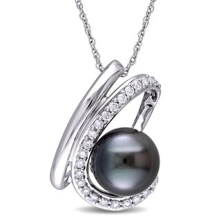 Miadora 10k White Gold 1/4ct TDW Black Tahitian Pearl Necklace (H-I, I2-I3)