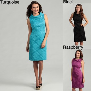Tahari ASL Women's Jacquard Envelope Collar Sheath Dress