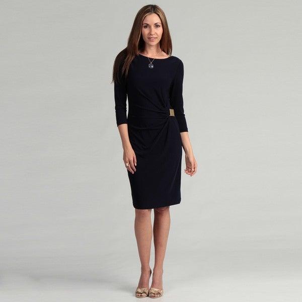 Tahari Women's Goldtone Buckle Matte Jersey Dress