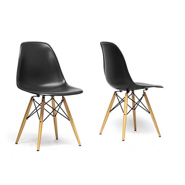 Baxton Studio Azzo Black Plastic Mid-century Modern Shell Chairs (Set of 2)